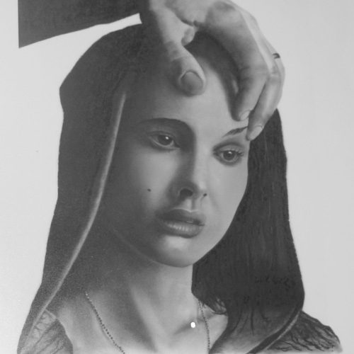 Charcoal drawing of Natalie Portman