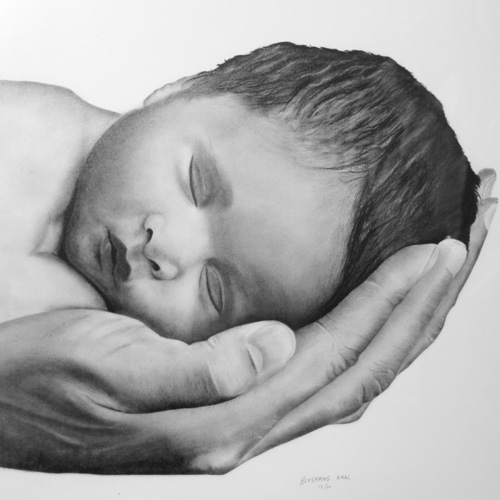 Charcoal drawing of baby