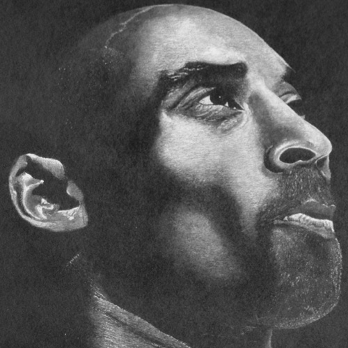 Charcoal drawing of Kobe Bryant